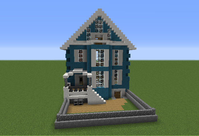 Blue Downtown House Blueprints For Minecraft Houses Castles Towers And More Grabcraft