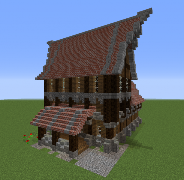 Detailed Medieval Rich House 4 Blueprints For Minecraft Houses Castles Towers And More Grabcraft