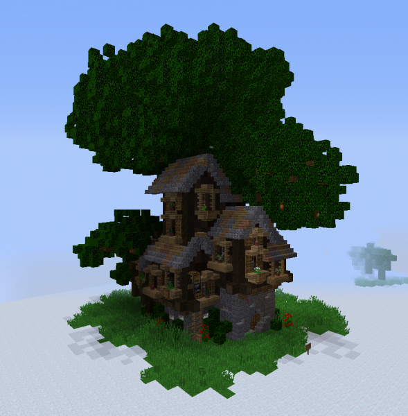 Fantasy Elven Dark Oak Tavern Blueprints For Minecraft Houses Castles Towers And More Grabcraft