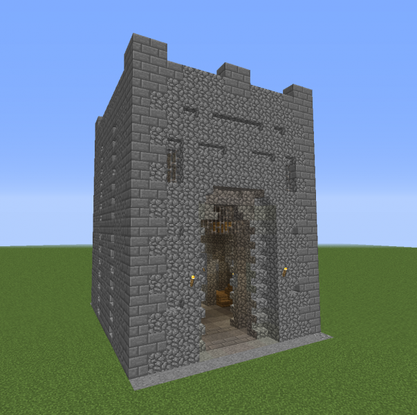 Medieval Kingdom Stone Gate Open Blueprints For Minecraft Houses