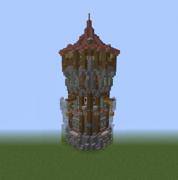 Medieval Wall Corner With Guard Tower 4 Blueprints For Minecraft Houses Castles Towers And More Grabcraft