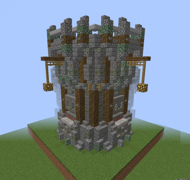 Medieval Wall Corner With Watchtower Blueprints For Minecraft Houses Castles Towers And More Grabcraft