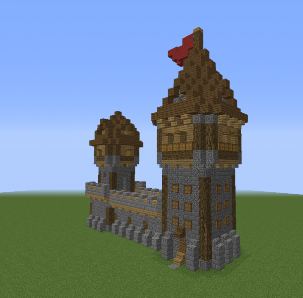 Medieval Wall With Towers Blueprints For Minecraft Houses Castles Towers And More Grabcraft