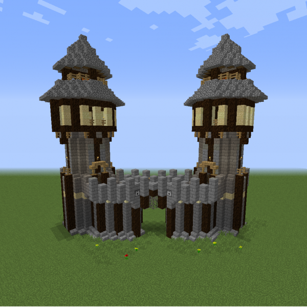 Rustic Medieval Town Gate Blueprints For Minecraft Houses
