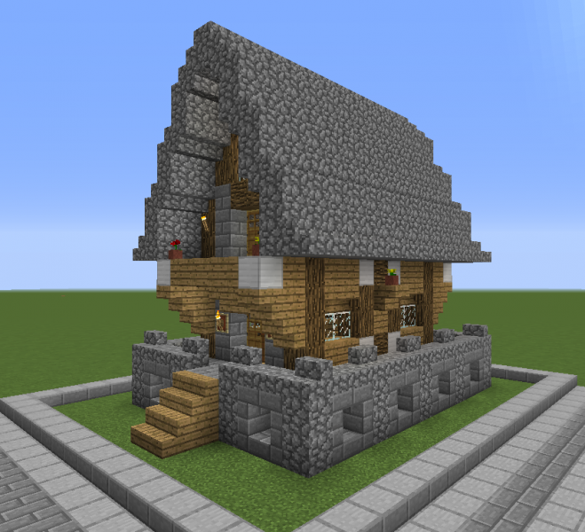 Stone Roof Medieval House 1 Blueprints For Minecraft Houses Castles Towers And More Grabcraft