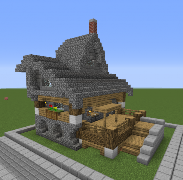 Stone Roof Medieval Shop Blueprints For Minecraft Houses Castles Towers And More Grabcraft