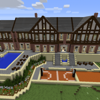 Huge Modern Mansion Blueprints For Minecraft Houses Castles
