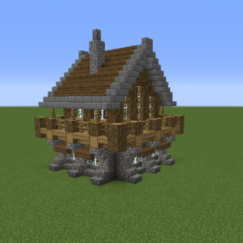 Medieval Rustic Log Cabin 1 Blueprints For Minecraft Houses